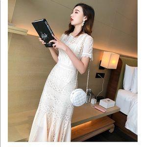 Dresses - Cream lace dress